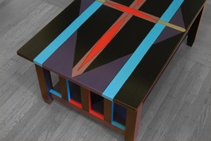 Diamond Lanes | Mission Coffee Table :  limited edition hand painted solid wood funky