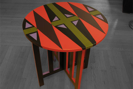Out The Window | Mission Round Table :  interior design hand painted vibrant accent table